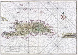 Early map of Hispaniola and Puerto Rico, circa 1639.